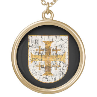 Jerusalem Cross, Distressed Round Pendant Necklace