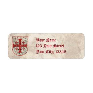Jerusalem Cross, Distressed Return Address Label