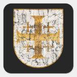 Jerusalem Cross, Distressed Square Sticker