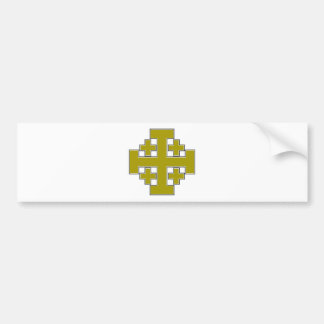 Jerusalem Cross Gold Bumper Sticker