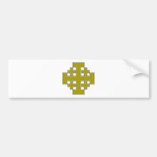Jerusalem Cross Gold Car Bumper Sticker
