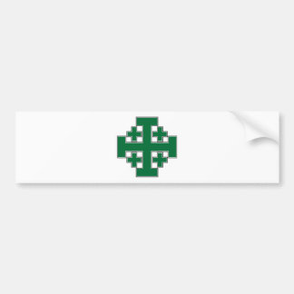 Jerusalem Cross Green Bumper Sticker