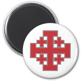 Jerusalem Cross Red 2 Inch Round Magnet