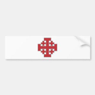 Jerusalem Cross Red Car Bumper Sticker