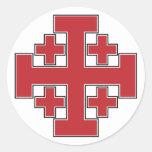 Jerusalem Cross Red Classic Round Sticker