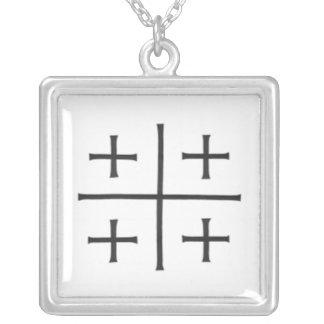 Jerusalem Cross Silver Plated Necklace