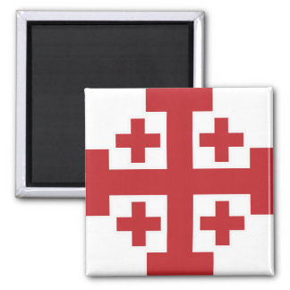 Jerusalem Cross simple red 2 Inch Square Magnet