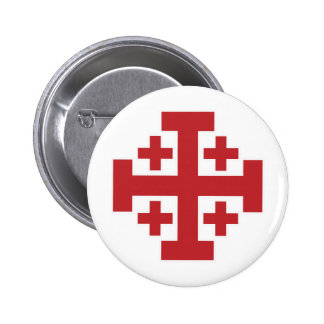 Jerusalem Cross simple red 2 Inch Round Button