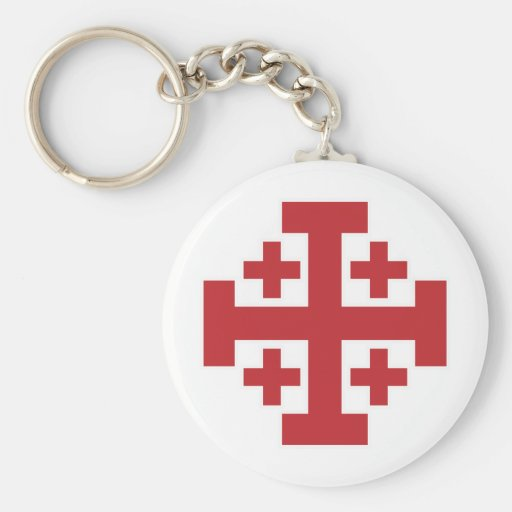 Jerusalem Cross simple red Basic Round Button Keychain