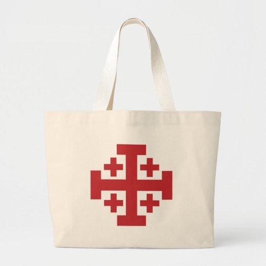 Jerusalem Cross simple red Large Tote Bag