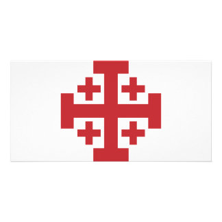 Jerusalem Cross simple red Personalized Photo Card
