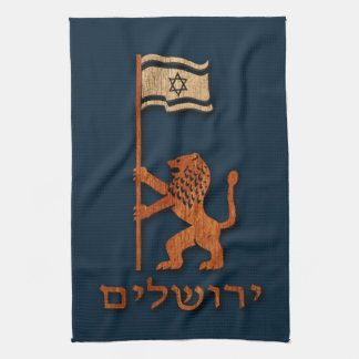 Jerusalem Day Lion With Flag Hand Towel