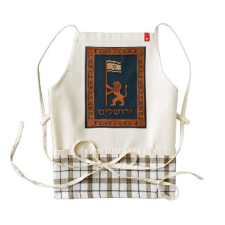 Jerusalem Day Lion With Flag Zazzle HEART Apron