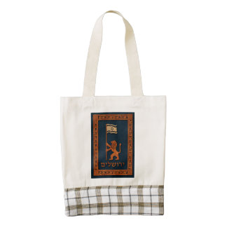 Jerusalem Day Lion With Flag Zazzle HEART Tote Bag
