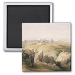 Jerusalem from the Mount of Olives, April 8th 1839 2 Inch Square Magnet