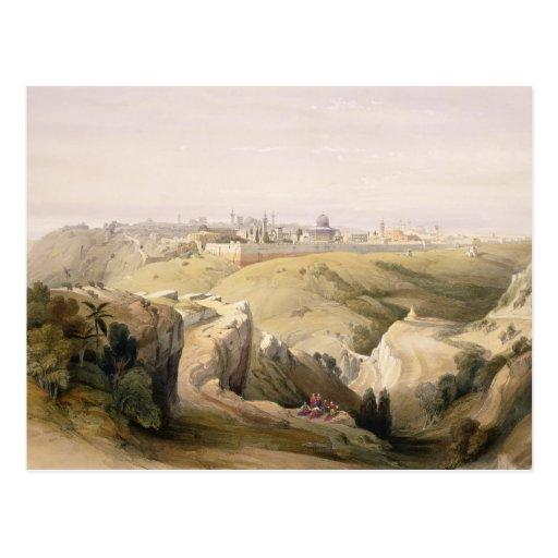 Jerusalem from the Mount of Olives, April 8th 1839 Postcard