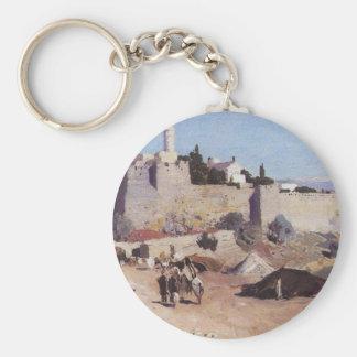Jerusalem from the west. Jaffa Gate Basic Round Button Keychain