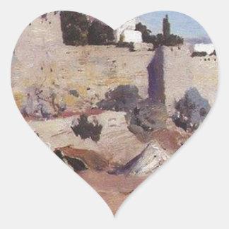Jerusalem from the west. Jaffa Gate Heart Sticker