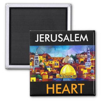 JERUSALEM HEART 2 INCH SQUARE MAGNET
