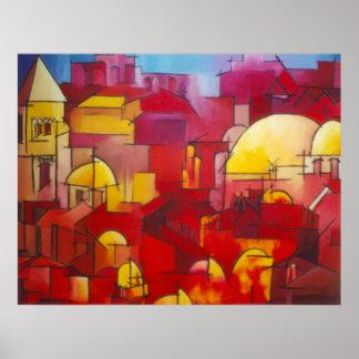 Jerusalem In Red Poster