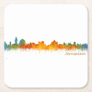 Jerusalem Israel City Skyline v2 Square Paper Coaster