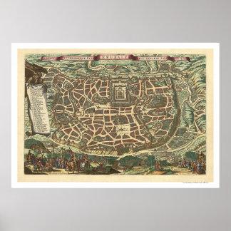 Jerusalem Israel Map 1660 Poster