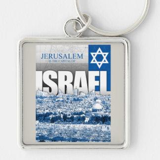 Jerusalem, Israel Silver-Colored Square Keychain
