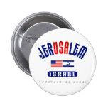 """Jerusalem  (Jer""""USA""""lem) USA - Israel Pinback Buttons"""