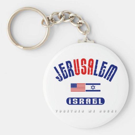 "Jerusalem  (Jer""USA""lem) USA - Israel Keychain"