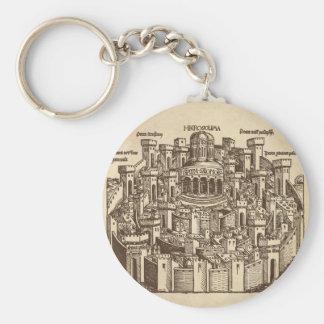 Jerusalem, Medieval Woodcut Keychain