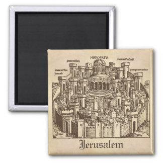 Jerusalem, Medieval Woodcut Magnet