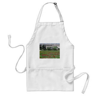 Jerusalem of Gold and Red Flowers Adult Apron