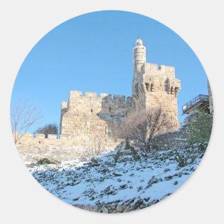 Jerusalem Old City, David Tower under snow Round Sticker