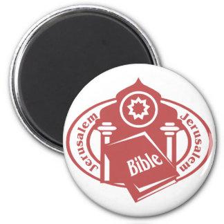 Jerusalem Stamp 2 Inch Round Magnet