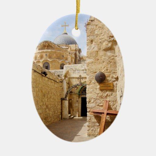 Jerusalem Via Dolorosa Station IX of the Cross Double-Sided Oval Ceramic Christmas Ornament