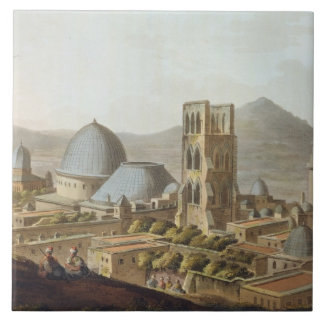 Jerusalén con la iglesia del sepulcro santo, p azulejo cuadrado grande