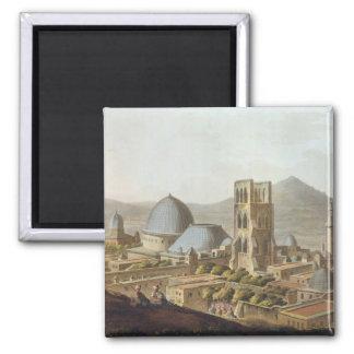 Jerusalén con la iglesia del sepulcro santo, p imán cuadrado