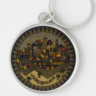 Jerusalén de cerámica llavero redondo plateado