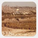 Jerusalén de los pegatinas del oro pegatina cuadrada