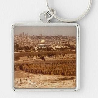 Jerusalén del oro llavero cuadrado plateado