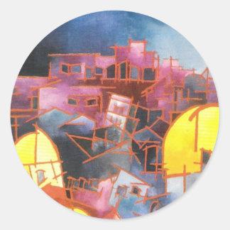 Jerusalén en la noche pegatina redonda