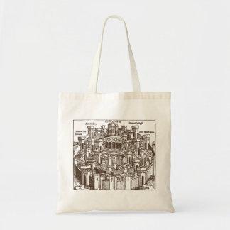 Jerusalén, grabar en madera medieval bolsa tela barata