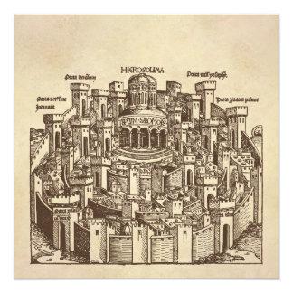 """Jerusalén, grabar en madera medieval invitación 5.25"""" x 5.25"""""""