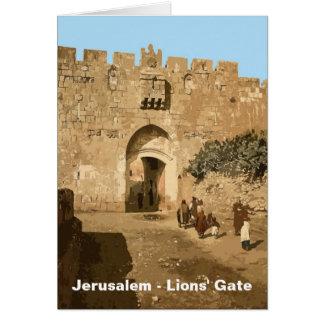 Jerusalén - la puerta de los leones tarjeta de felicitación