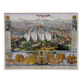 Jeruselem and the Temple 1687 Antique Panorama Poster