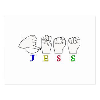 JESS NAME SIGN ASL FINGERSPELLED POSTCARD