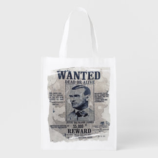 Jesse and Frank James Wanted Poster Reusable Grocery Bag