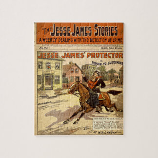 Jesse James Outlaw Bank Robber Comic Book Jigsaw Puzzle