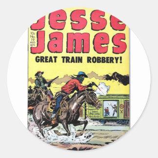 Jesse James Train Robbery Classic Round Sticker