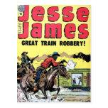 Jesse James Train Robbery Postcard